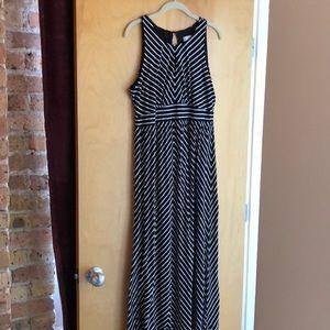 Ann Taylor Loft black/white striped maxi dress
